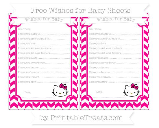 Free Magenta Herringbone Pattern Hello Kitty Wishes for Baby Sheets