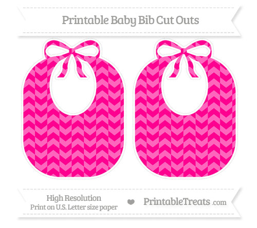 Free Magenta Herringbone Pattern Large Baby Bib Cut Outs