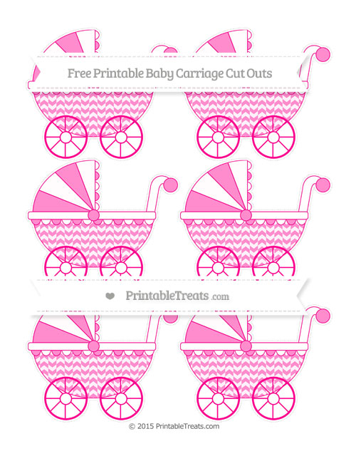 Free Magenta Herringbone Pattern Small Baby Carriage Cut Outs