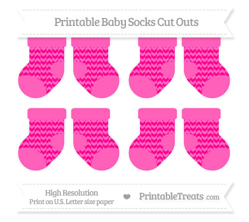 Free Magenta Herringbone Pattern Small Baby Socks Cut Outs
