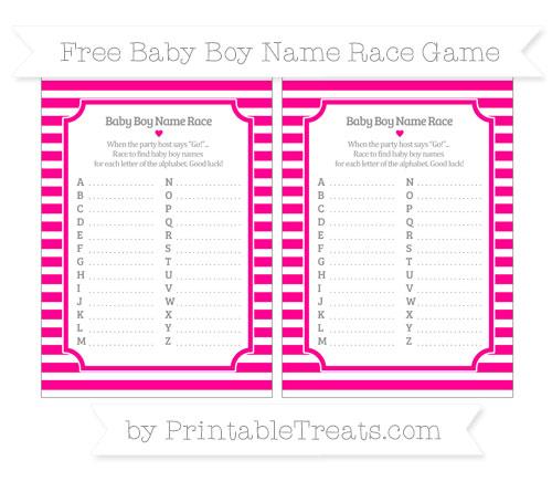 Free Magenta Horizontal Striped Baby Boy Name Race Game