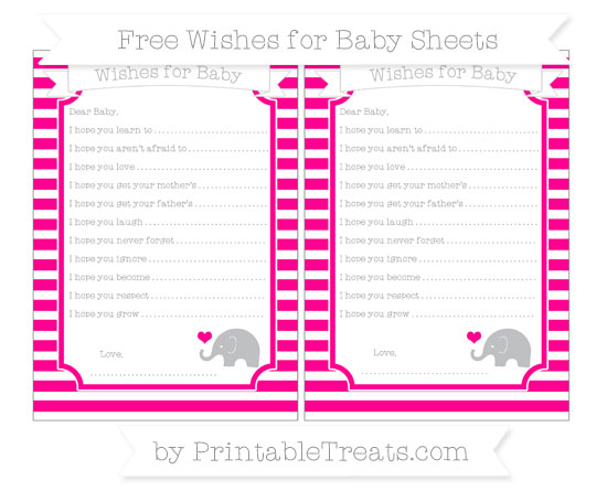 Free Magenta Horizontal Striped Baby Elephant Wishes for Baby Sheets