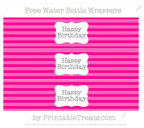 Free Magenta Horizontal Striped Happy Birhtday Water Bottle Wrappers