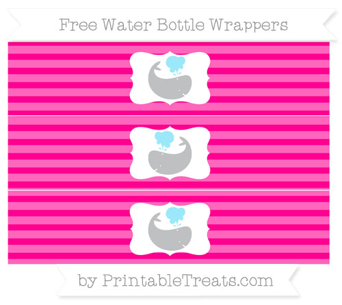 Free Magenta Horizontal Striped Whale Water Bottle Wrappers
