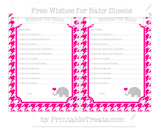 Free Magenta Houndstooth Pattern Baby Elephant Wishes for Baby Sheets