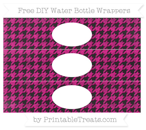 Free Magenta Houndstooth Pattern Chalk Style DIY Water Bottle Wrappers