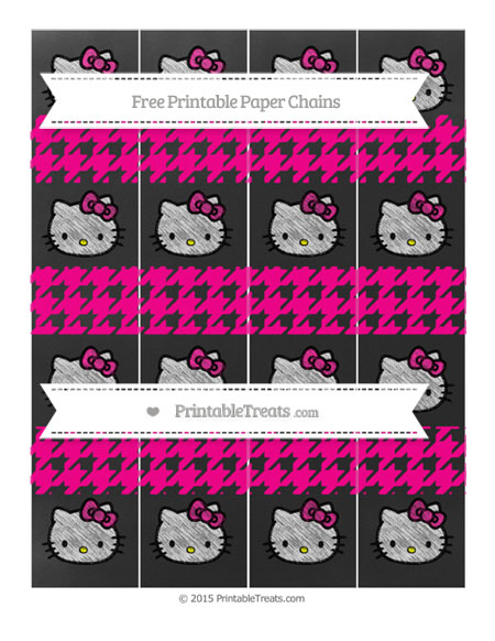 Free Magenta Houndstooth Pattern Chalk Style Hello Kitty Paper Chains