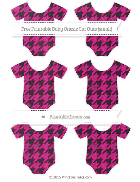 Free Magenta Houndstooth Pattern Chalk Style Small Baby Onesie Cut Outs