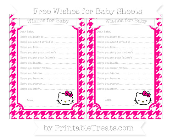 Free Magenta Houndstooth Pattern Hello Kitty Wishes for Baby Sheets