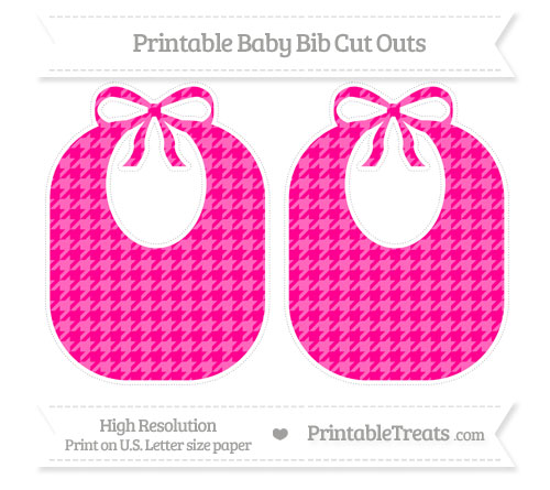Free Magenta Houndstooth Pattern Large Baby Bib Cut Outs