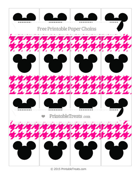 Free Magenta Houndstooth Pattern Mickey Mouse Paper Chains