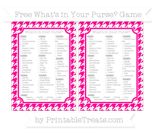 Free Magenta Houndstooth Pattern What's in Your Purse Baby Shower Game