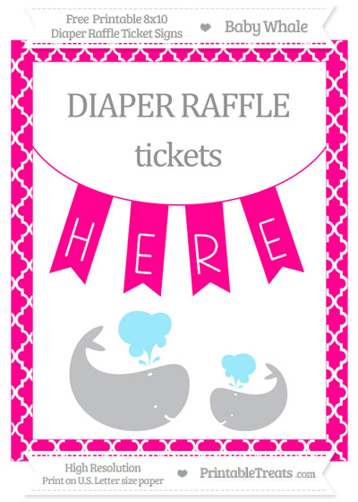 Free Magenta Moroccan Tile Baby Whale 8x10 Diaper Raffle Ticket Sign