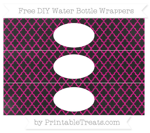 Free Magenta Moroccan Tile Chalk Style DIY Water Bottle Wrappers