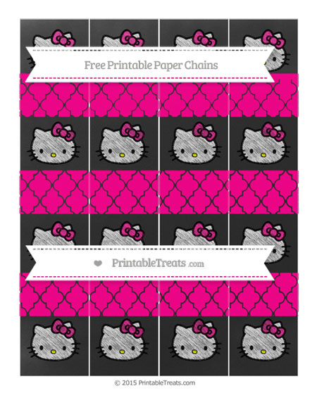 Free Magenta Moroccan Tile Chalk Style Hello Kitty Paper Chains