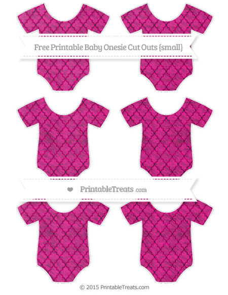 Free Magenta Moroccan Tile Chalk Style Small Baby Onesie Cut Outs