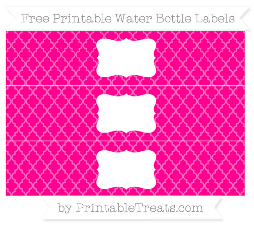 Free Magenta Moroccan Tile Water Bottle Labels