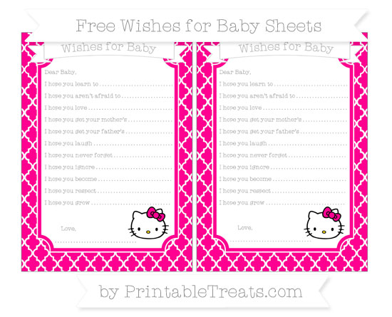 Free Magenta Moroccan Tile Hello Kitty Wishes for Baby Sheets