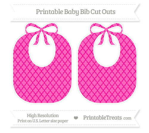 Free Magenta Moroccan Tile Large Baby Bib Cut Outs