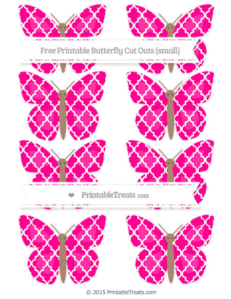 Free Magenta Moroccan Tile Small Butterfly Cut Outs