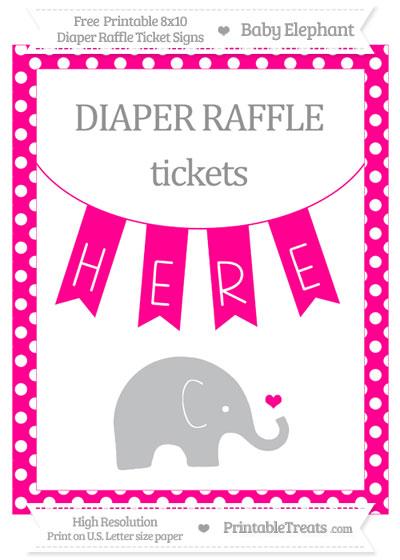 Free Magenta Polka Dot Baby Elephant 8x10 Diaper Raffle Ticket Sign
