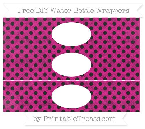 Free Magenta Polka Dot Chalk Style DIY Water Bottle Wrappers