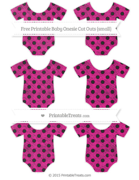 Free Magenta Polka Dot Chalk Style Small Baby Onesie Cut Outs