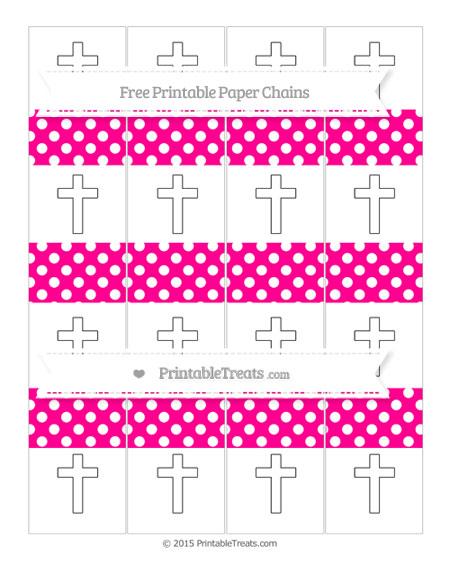 Free Magenta Polka Dot Cross Paper Chains