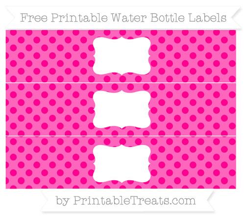 Free Magenta Polka Dot Water Bottle Labels