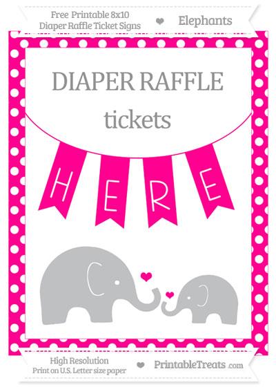 Free Magenta Polka Dot Elephant 8x10 Diaper Raffle Ticket Sign