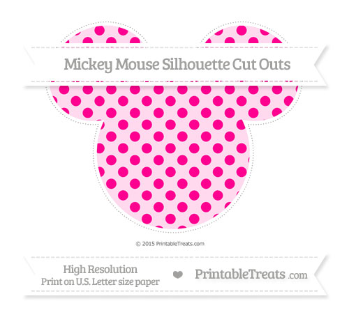 Free Magenta Polka Dot Extra Large Mickey Mouse Silhouette Cut Outs