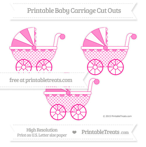 Free Magenta Polka Dot Medium Baby Carriage Cut Outs