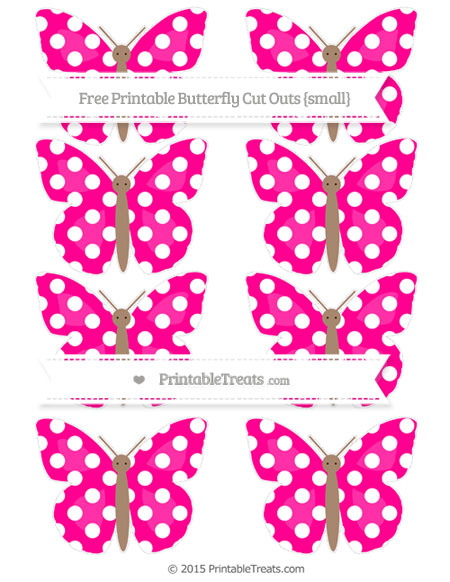 Free Magenta Polka Dot Small Butterfly Cut Outs