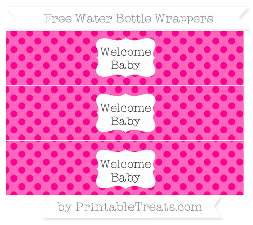 Free Magenta Polka Dot Welcome Baby Water Bottle Wrappers