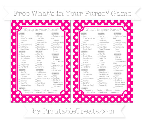 Free Magenta Polka Dot What's in Your Purse Baby Shower Game