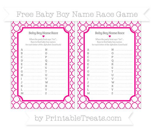 Free Magenta Quatrefoil Pattern Baby Boy Name Race Game