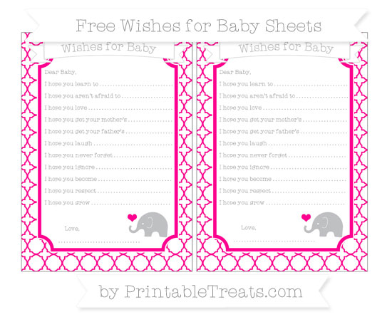 Free Magenta Quatrefoil Pattern Baby Elephant Wishes for Baby Sheets