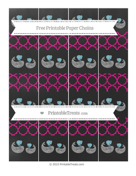 Free Magenta Quatrefoil Pattern Chalk Style Baby Whale Paper Chains