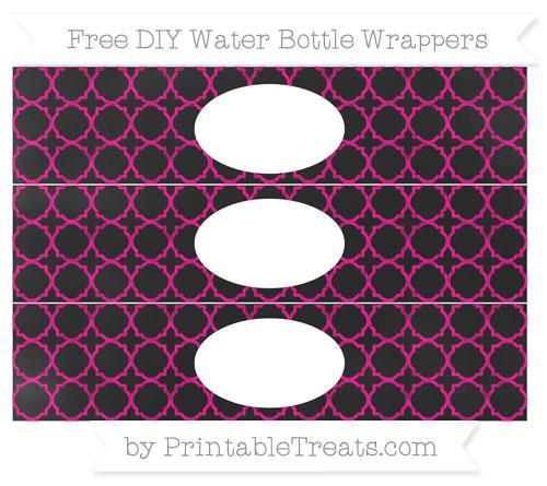 Free Magenta Quatrefoil Pattern Chalk Style DIY Water Bottle Wrappers