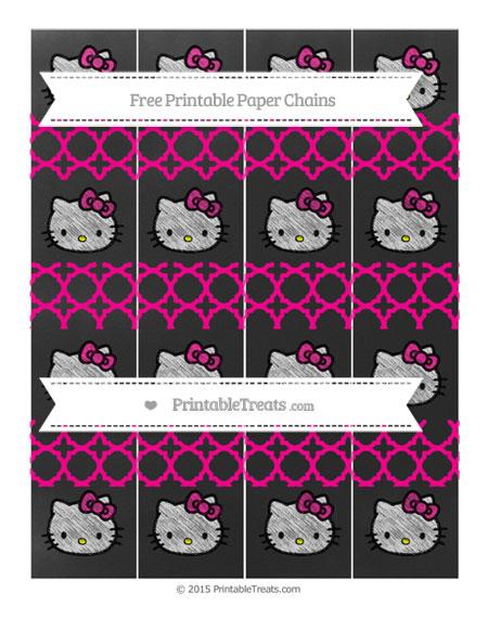 Free Magenta Quatrefoil Pattern Chalk Style Hello Kitty Paper Chains