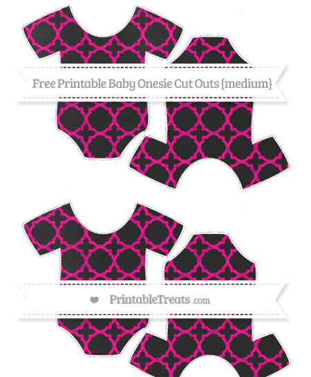 Free Magenta Quatrefoil Pattern Chalk Style Medium Baby Onesie Cut Outs