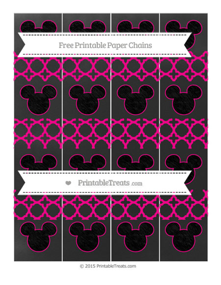 Free Magenta Quatrefoil Pattern Chalk Style Mickey Mouse Paper Chains