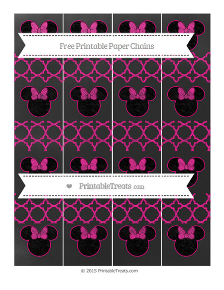 Free Magenta Quatrefoil Pattern Chalk Style Minnie Mouse Paper Chains