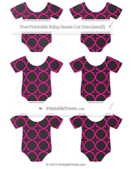 Free Magenta Quatrefoil Pattern Chalk Style Small Baby Onesie Cut Outs