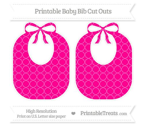 Free Magenta Quatrefoil Pattern Large Baby Bib Cut Outs