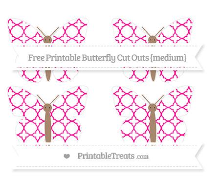 Free Magenta Quatrefoil Pattern Medium Butterfly Cut Outs