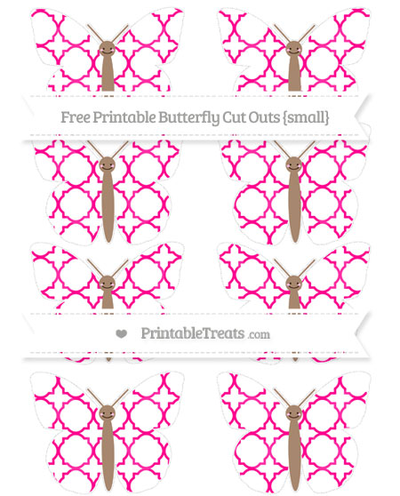 Free Magenta Quatrefoil Pattern Small Smiley Butterfly Cut Outs