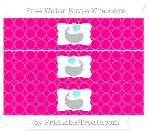 Free Magenta Quatrefoil Pattern Whale Water Bottle Wrappers