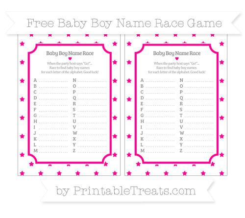 Free Magenta Star Pattern Baby Boy Name Race Game