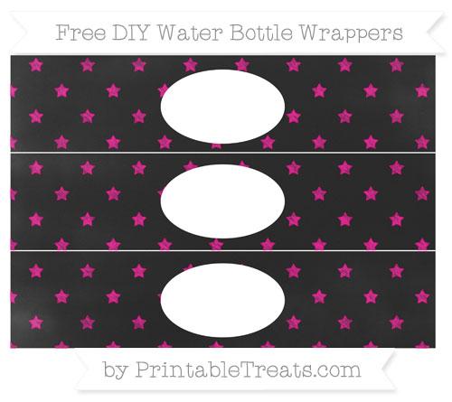 Free Magenta Star Pattern Chalk Style DIY Water Bottle Wrappers